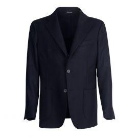 VIRUM NAPOLI Blue Navy Herringbone Single-Breasted Jacket