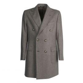 VIRUM NAPOLI Brown and Cream Herringbone Double-Breasted Coat