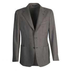 VIRUM NAPOLI Brown and Cream Herringbone Single-Breasted Jacket