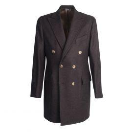 VIRUM NAPOLI Dark Brown Herringbone Double-Breasted Coat