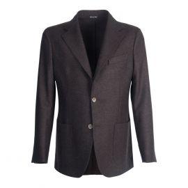 VIRUM NAPOLI Dark Brown Herringbone Single-Breasted Jacket