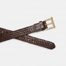 BRION Brown Braided Leather Belt