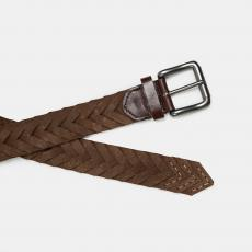 Brown Handbraided Suede Belt