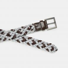 Light Grey and Brown Handbraided Leather and Wool Belt