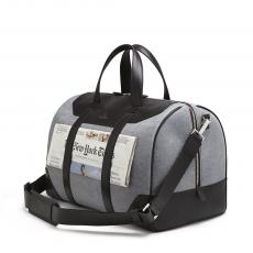 LINATE Dark Brown and Blue Boston Bag