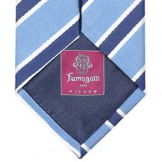 Azure, Blue and White Stripes Silk Tie