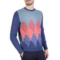 Blue, White and Red Diamond Intarsia 100% Cashmere Round-Neck Pullover