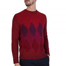 Bordeaux, Red and Purple Diamond Intarsia 100% Cashmere Round-Neck Pullover
