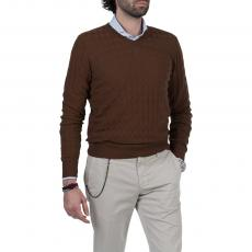 Brown 3D Diamonds 100% Cotton V-Neck Sweater