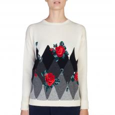 Diamond Intarsia and Roses 100% Cashmere Round-Neck Sweater