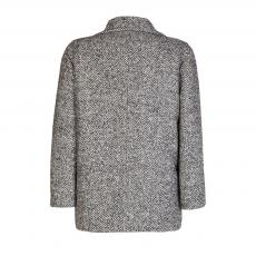 Grey and White Herringbone Virgin Wool Double-Breasted Chunky Coat