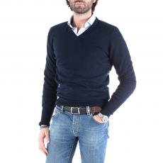 AIDAN Navy Blue 100% Cashmere V-Neck Pullover
