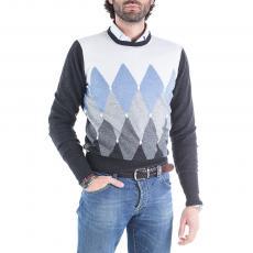 CARSON Diamond Intarsia 100% Cashmere Round-Neck Pullover
