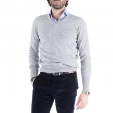 FRASER Light Grey Wool&Cashmere V-Neck Pullover