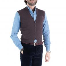 IRVINE Brown Wool&Cashmere V-Neck Gilet