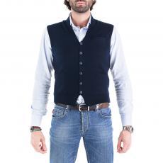 RANALD Blue Wool&Cashmere V-Neck Gilet