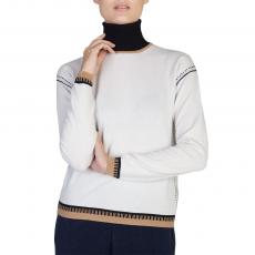 White with Black and Camel Details Turtleneck 100%Cashmere Sweater
