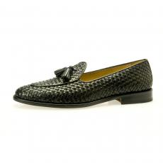 Black Hand Woven Leather Tasselled Loafers