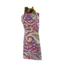 Bordeaux with Yellow and Blue Paisley Silk Glasses Pochette