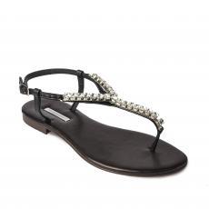 BLACK with Transparent Crystals Embellished Sandals