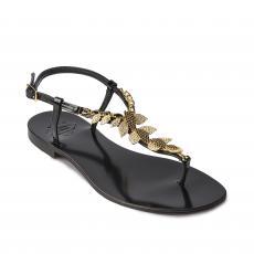 BLACK with Golden Leaves Embellished Sandals