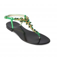 BLACK with Green Crystals Embellished Sandals