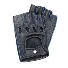 Black Leather with Blue stitching Fingerless Driving Gloves