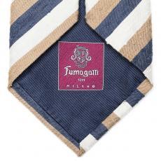 Blue, Beige and White Stripes Silk Tie
