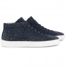 CROCO Blue White High Top Sneakers