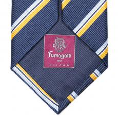 Blue, Yellow and Azure Stripes Silk Tie