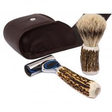 TRAVELING SHAVING SET Stag Antlers