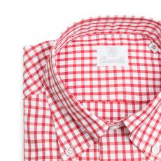 BUSINESS IN VESPA Red Gingham Check Twill Double Twisted Cotton Shirt