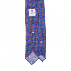 BLUE / RED VINTAGE 7 Fold Silk Tie