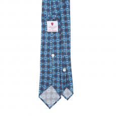 FLORAL AZURE / BROWN VINTAGE 7 Fold Silk Tie
