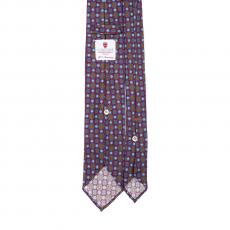 FLORAL BURGUNDY / AZURE VINTAGE 7 Fold Silk Tie