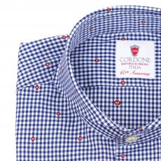 FLOWER Blue & White Checkered Twill Cotton Shirt