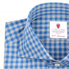GIZA BLUE Checkered Twill Cotton Shirt