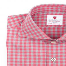 GIZA FUCHSIA Checkered Twill Cotton Shirt