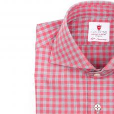 GIZA FUCHSIA Checkered Twill Cotton Shirt