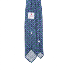 GREEN / VIOLET VINTAGE 7 Fold Silk Tie
