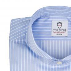 LORD BYRON 305-2 Azure with White Stripes Cotton Shirt