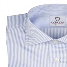 LORD BYRON 304-2 White with Azure Stripes Cotton Shirt