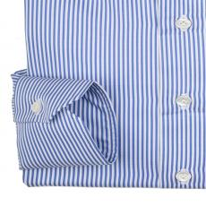LORD BYRON 304-3 White with Blue Stripes Cotton Shirt