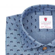 MIAMI Vespa Patterned Double Twisted Cotton Shirt