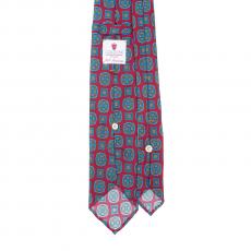 RED / AZURE VINTAGE 7 Fold Silk Tie
