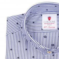 STAR Azure & White Stripes Double Twisted Cotton Shirt