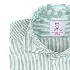 LINEN STRIPES White and Green Shirt