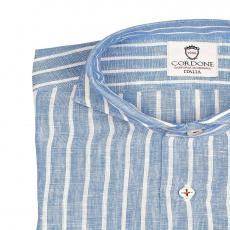 LINEN STRIPES White and Light Blue Shirt