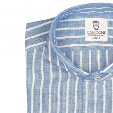 LINEN STRIPES White and Light Blue Shirt