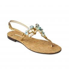 CORK with Azure Crystals Embellished Sandals